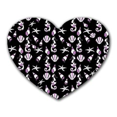 Seahorse Pattern Heart Mousepads by Valentinaart
