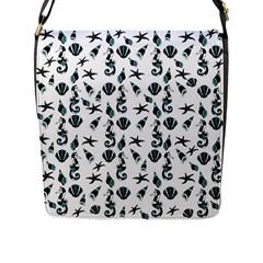 Seahorse Pattern Flap Messenger Bag (l)
