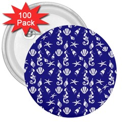 Seahorse Pattern 3  Buttons (100 Pack)  by Valentinaart
