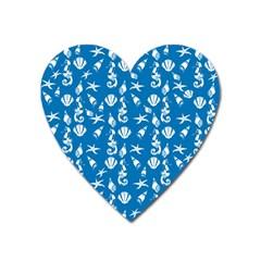 Seahorse Pattern Heart Magnet by Valentinaart