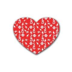Seahorse Pattern Heart Coaster (4 Pack)  by Valentinaart