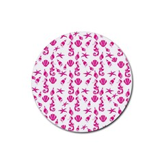 Seahorse Pattern Rubber Round Coaster (4 Pack)  by Valentinaart