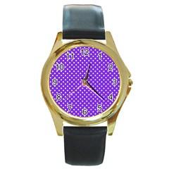 Polka Dots Round Gold Metal Watch by Valentinaart