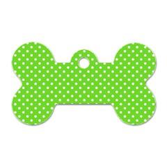 Polka Dots Dog Tag Bone (one Side) by Valentinaart