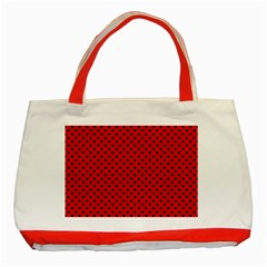 Polka Dots Classic Tote Bag (red) by Valentinaart