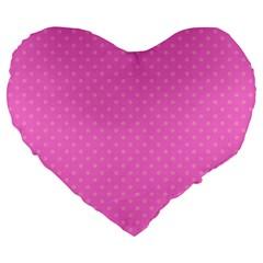 Polka Dots Large 19  Premium Heart Shape Cushions by Valentinaart