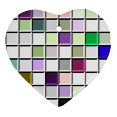 Color Tiles Abstract Mosaic Background Ornament (heart) by Simbadda