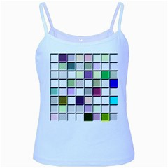 Color Tiles Abstract Mosaic Background Baby Blue Spaghetti Tank by Simbadda