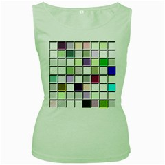 Color Tiles Abstract Mosaic Background Women s Green Tank Top by Simbadda