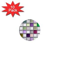 Color Tiles Abstract Mosaic Background 1  Mini Buttons (10 Pack)  by Simbadda