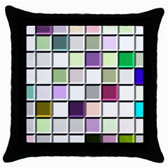Color Tiles Abstract Mosaic Background Throw Pillow Case (black) by Simbadda