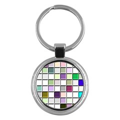 Color Tiles Abstract Mosaic Background Key Chains (round)  by Simbadda