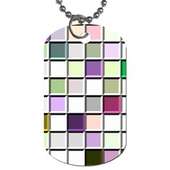 Color Tiles Abstract Mosaic Background Dog Tag (one Side) by Simbadda