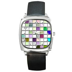 Color Tiles Abstract Mosaic Background Square Metal Watch by Simbadda