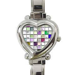 Color Tiles Abstract Mosaic Background Heart Italian Charm Watch by Simbadda