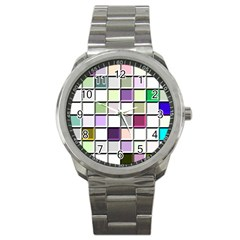 Color Tiles Abstract Mosaic Background Sport Metal Watch by Simbadda