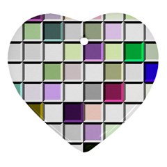 Color Tiles Abstract Mosaic Background Heart Ornament (two Sides) by Simbadda