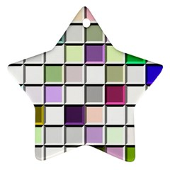 Color Tiles Abstract Mosaic Background Star Ornament (two Sides) by Simbadda