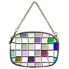 Color Tiles Abstract Mosaic Background Chain Purses (one Side)  by Simbadda