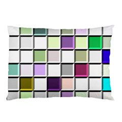 Color Tiles Abstract Mosaic Background Pillow Case by Simbadda