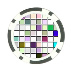 Color Tiles Abstract Mosaic Background Poker Chip Card Guard (10 Pack) by Simbadda