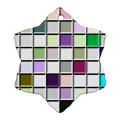 Color Tiles Abstract Mosaic Background Snowflake Ornament (two Sides) by Simbadda