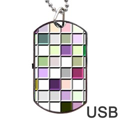Color Tiles Abstract Mosaic Background Dog Tag USB Flash (One Side) by Simbadda