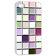 Color Tiles Abstract Mosaic Background Apple Iphone 4/4s Seamless Case (white) by Simbadda