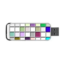 Color Tiles Abstract Mosaic Background Portable Usb Flash (one Side) by Simbadda