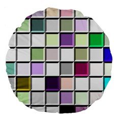 Color Tiles Abstract Mosaic Background Large 18  Premium Round Cushions by Simbadda