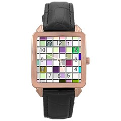 Color Tiles Abstract Mosaic Background Rose Gold Leather Watch  by Simbadda