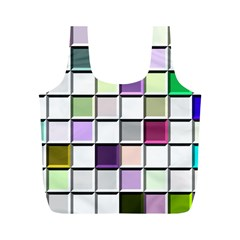 Color Tiles Abstract Mosaic Background Full Print Recycle Bags (m)  by Simbadda