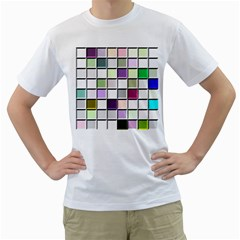 Color Tiles Abstract Mosaic Background Men s T Shirt (white)  by Simbadda