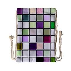 Color Tiles Abstract Mosaic Background Drawstring Bag (small) by Simbadda