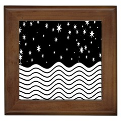Black And White Waves And Stars Abstract Backdrop Clipart Framed Tiles by Simbadda