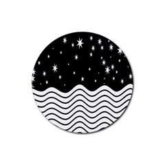 Black And White Waves And Stars Abstract Backdrop Clipart Rubber Coaster (round)  by Simbadda