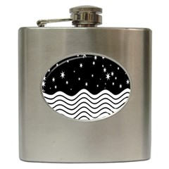 Black And White Waves And Stars Abstract Backdrop Clipart Hip Flask (6 Oz) by Simbadda