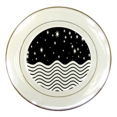 Black And White Waves And Stars Abstract Backdrop Clipart Porcelain Plates by Simbadda