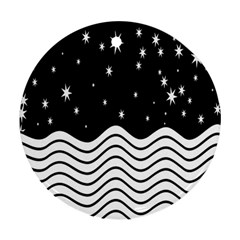 Black And White Waves And Stars Abstract Backdrop Clipart Round Ornament (two Sides) by Simbadda