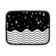 Black And White Waves And Stars Abstract Backdrop Clipart Netbook Case (small)  by Simbadda