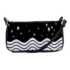 Black And White Waves And Stars Abstract Backdrop Clipart Shoulder Clutch Bags by Simbadda