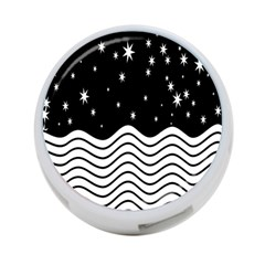 Black And White Waves And Stars Abstract Backdrop Clipart 4 Port Usb Hub (one Side) by Simbadda