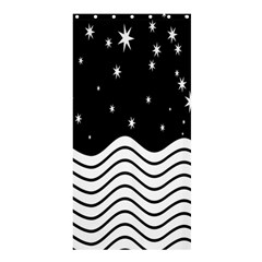 Black And White Waves And Stars Abstract Backdrop Clipart Shower Curtain 36  X 72  (stall)  by Simbadda