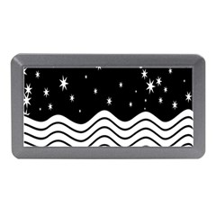 Black And White Waves And Stars Abstract Backdrop Clipart Memory Card Reader (mini) by Simbadda