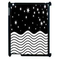 Black And White Waves And Stars Abstract Backdrop Clipart Apple Ipad 2 Case (black) by Simbadda