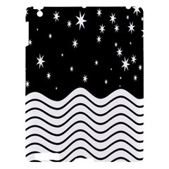 Black And White Waves And Stars Abstract Backdrop Clipart Apple Ipad 3/4 Hardshell Case by Simbadda