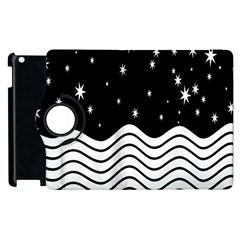 Black And White Waves And Stars Abstract Backdrop Clipart Apple Ipad 3/4 Flip 360 Case by Simbadda