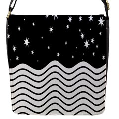 Black And White Waves And Stars Abstract Backdrop Clipart Flap Messenger Bag (s) by Simbadda