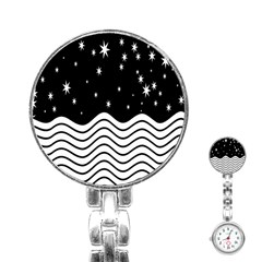 Black And White Waves And Stars Abstract Backdrop Clipart Stainless Steel Nurses Watch by Simbadda