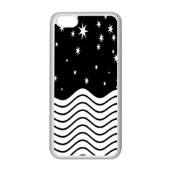 Black And White Waves And Stars Abstract Backdrop Clipart Apple Iphone 5c Seamless Case (white) by Simbadda